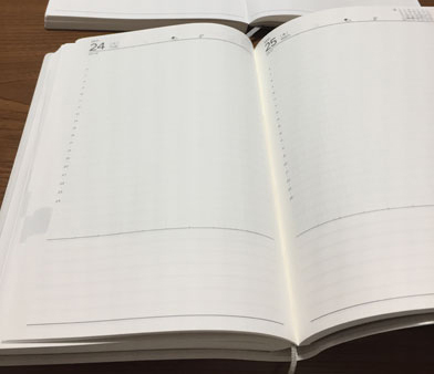 Edit週間ノートとtorinco(トリンコ)の開き具合比較