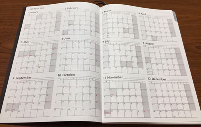 Edit週間ノートの年間スケジュール表